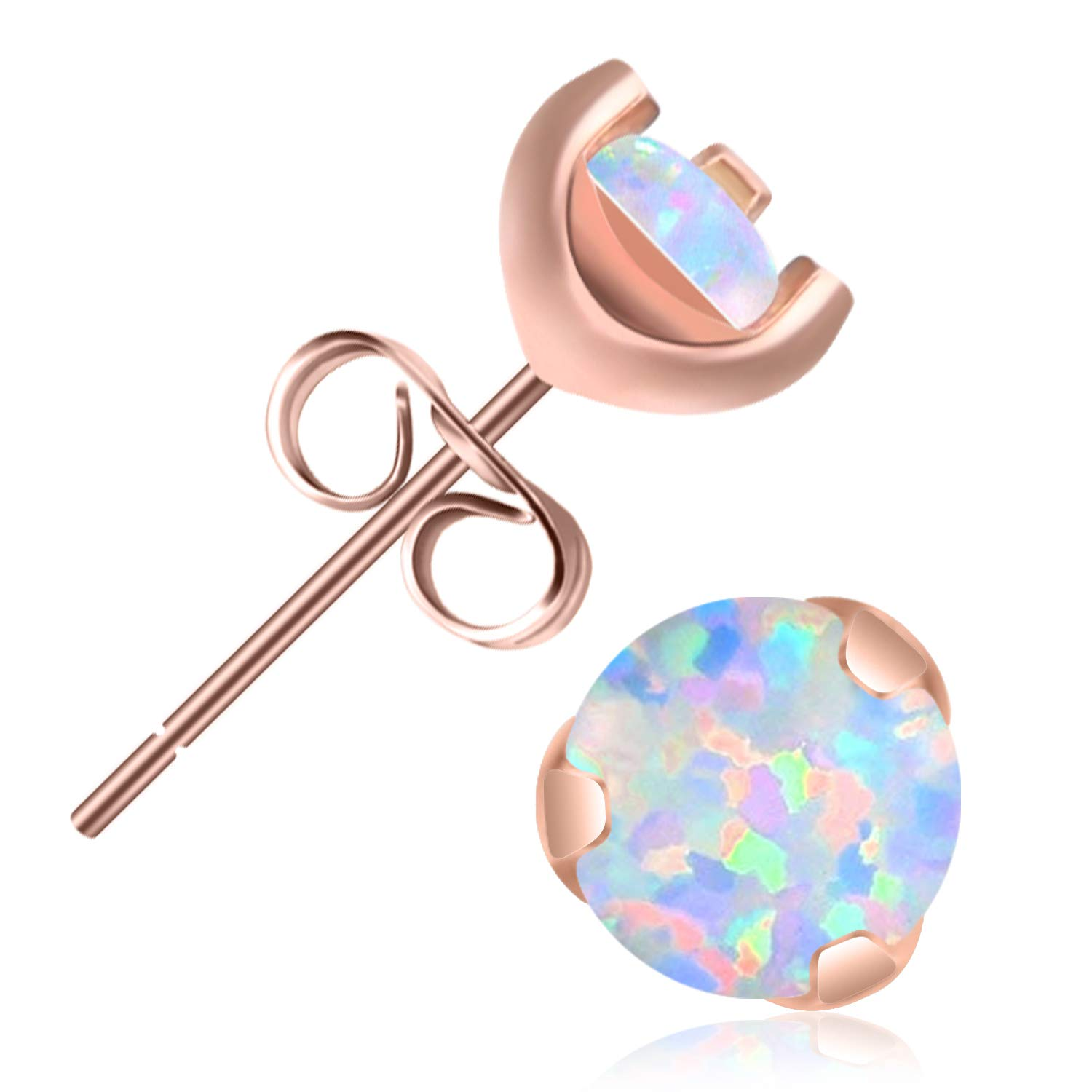 UHIBROS Stud Earring, 316L Stainless Steel 24K Rose Gold Hypoallergenic Studs Opal Round Ball Earrings FASH0196
