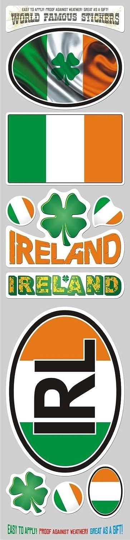 Car Chrome Decals STS-IRL Ireland Irish 10 Stickers Set Flag Decal Bumper stiker car auto Bike Laptop