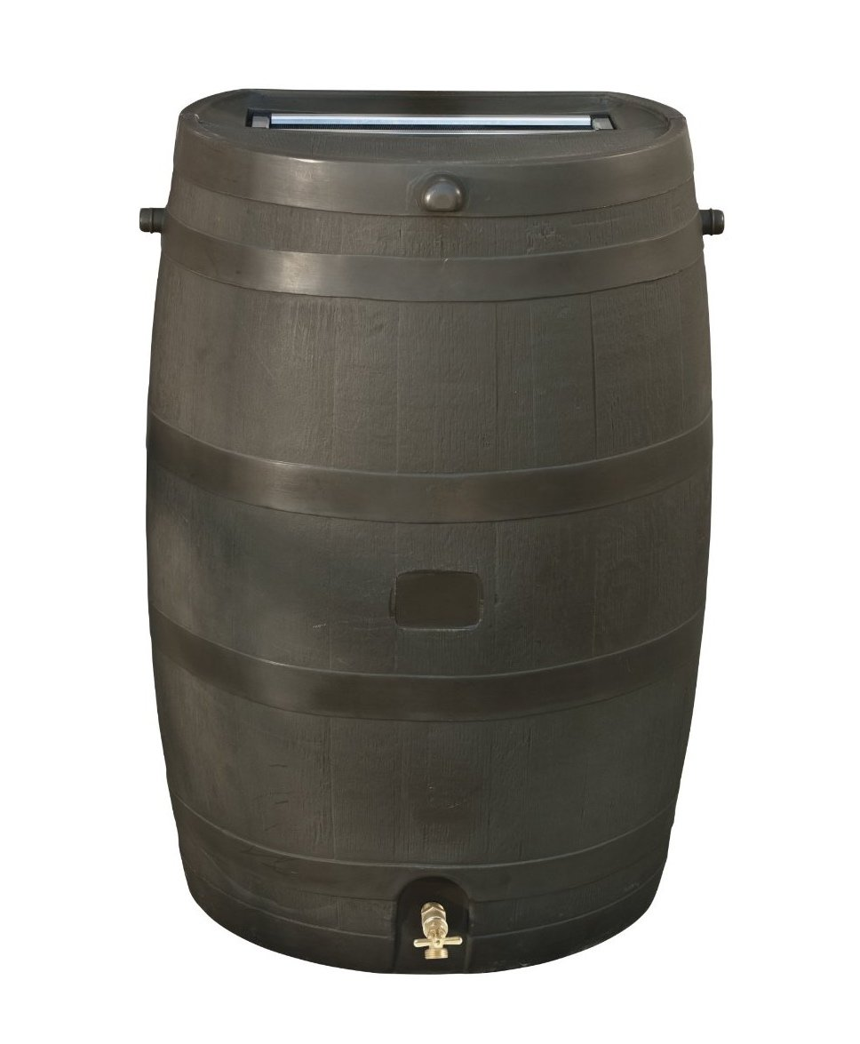 RTS Home Accents 50-Gallon Rain Water Collection Barrel with Brass Spigot, Brown by RTS Companies Inc