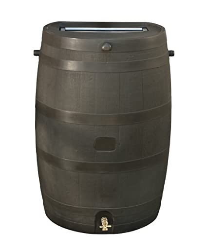 RTS Home Accents 50-Gallon Rain Water Collection Barrel with Brass Spigot,  Brown