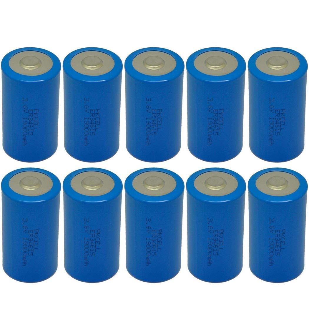 10 Pack D Cell Battery ER34615 3.6V 19000mAh Lithium Battery Button Top