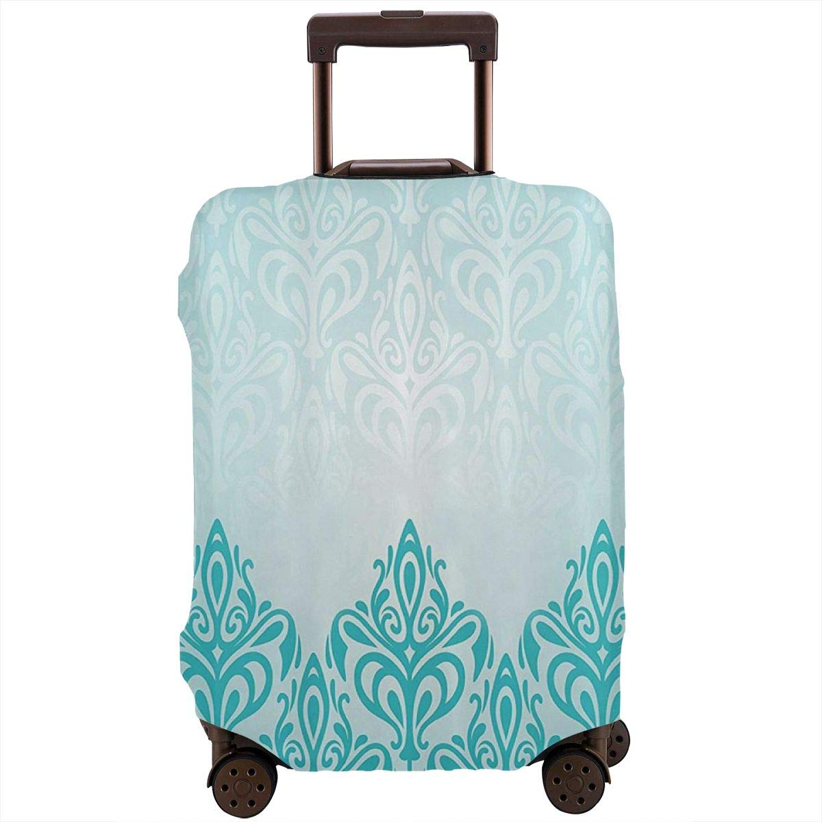 Luggage Cover Turquoise Retro Medieval European Gradient Protective Travel Trunk Case Elastic Luggage Suitcase Protector Cover