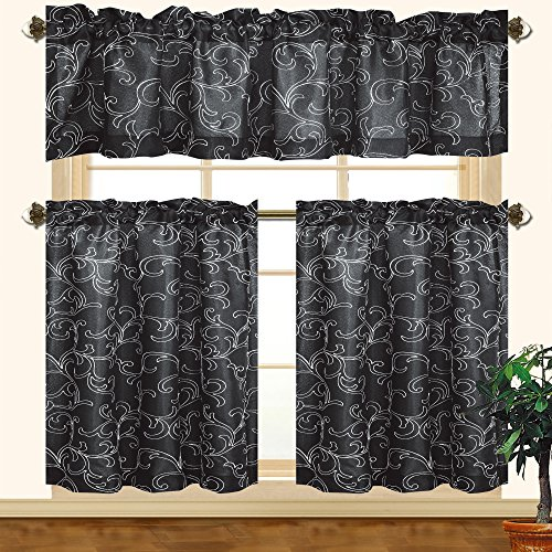 Kashi Home Chelsea 3pc Scroll Embroidered Decorative Kitchen Curtain Set (Black/White) Black Scroll Kitchen Set
