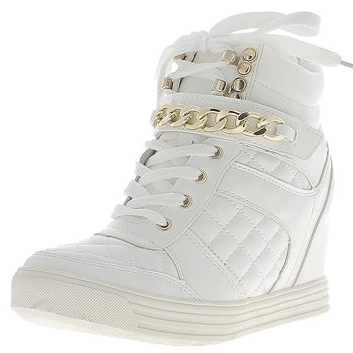 Levantamiento zapatillas cuña blancas con tacón de 8cm - 41: Amazon.es: Zapatos y complementos
