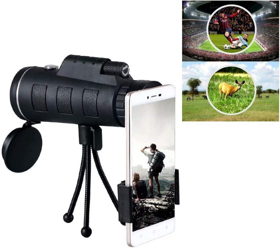 2020 - Telescopio monocular de alta definición impermeable 40x60, con soporte para smartphone + brújula + clip universal para cámara de teléfono + trípode: Amazon.es: Bricolaje y herramientas