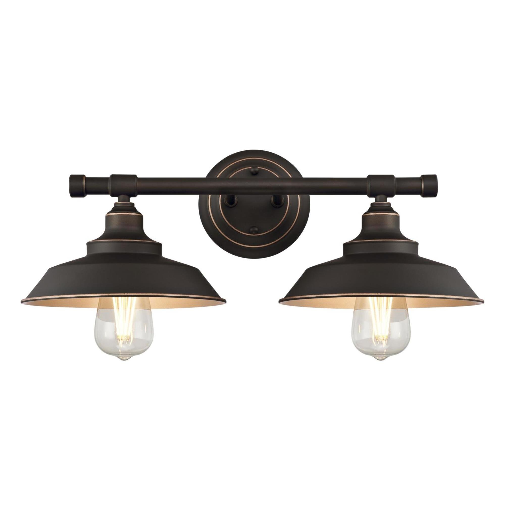 Westinghouse 6354800 Iron Hill Two-Light Indoor Wall Fixture, Oil Rubbed Bronze Finish with Highlights and Metal Shades
