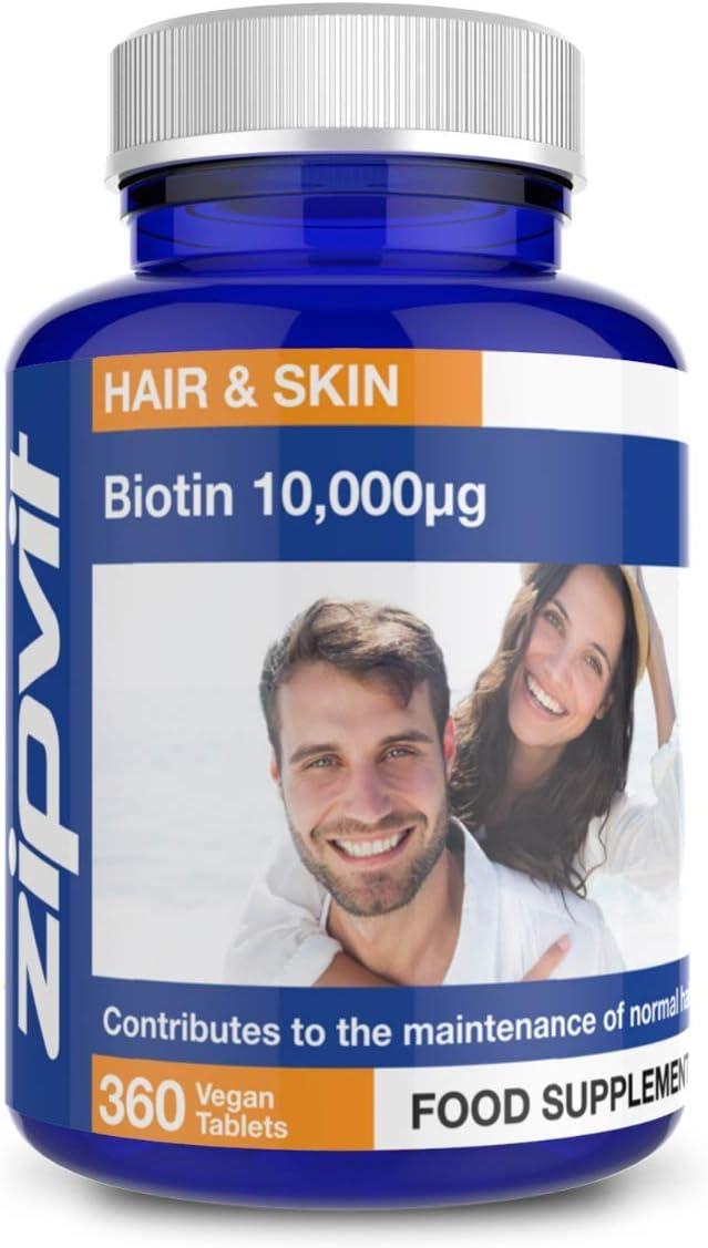 Biotina 10000 mcg Crecimiento del Cabello, Vitamina B7, Biotina para el Cabello, Piel y Uñas Saludables, 360 Tabletas Veganas, Suministro para 12 meses