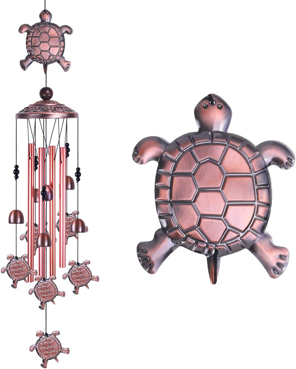 Tortoise Wind Chimes Outdoor Decor -With 4 Aluminum Tubes 6 Bells 7 Tortoises Wind Chime, Mobile Romantic Wind Catcher, Tortoise Windchimes for Home, Mom Gifts, Balcony, Festival, Garden Decoration