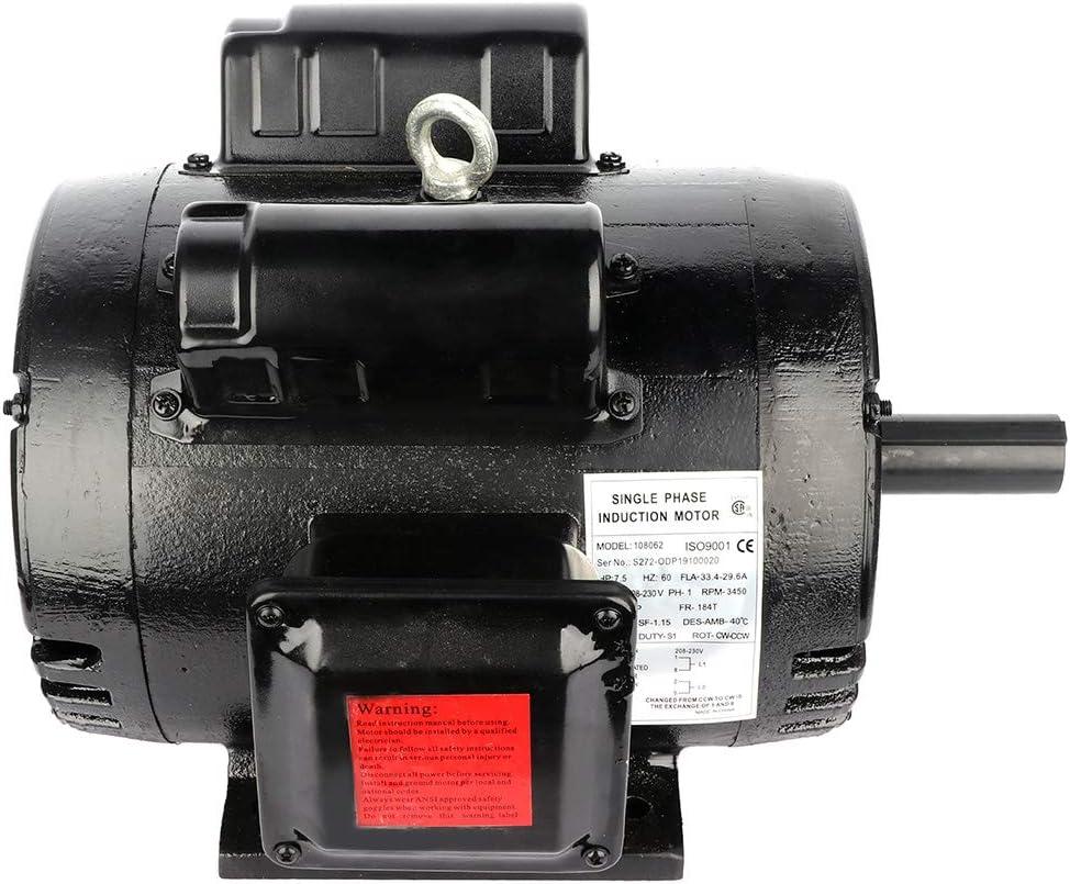 CTCAUTO 7.5 HP Electric Motor 184T Frame 1-1/8 Inch Shaft Single phase 208V-230V 3450RPM ODP
