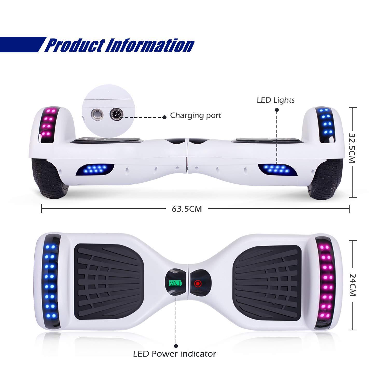 Blanco SISGAD 6.5Fashional Hoverboard-Two Wheels Scooter de Equilibrio autom/ático para ni/ños Adultos con Luces LED y Altavoz Bluetooth