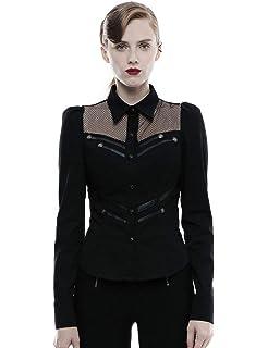 Punk Rave Damen Gothic Militär Hemd Schwarz Langarm