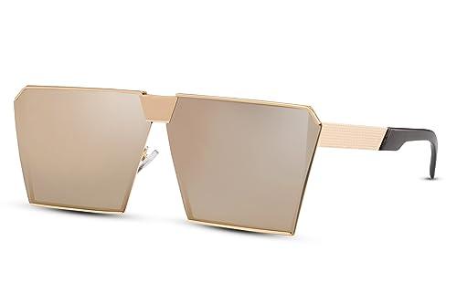 Cheapass Occhiali da Sole per le donne. Occhiali di designer d'oro d'argento specchiati rettangolari...