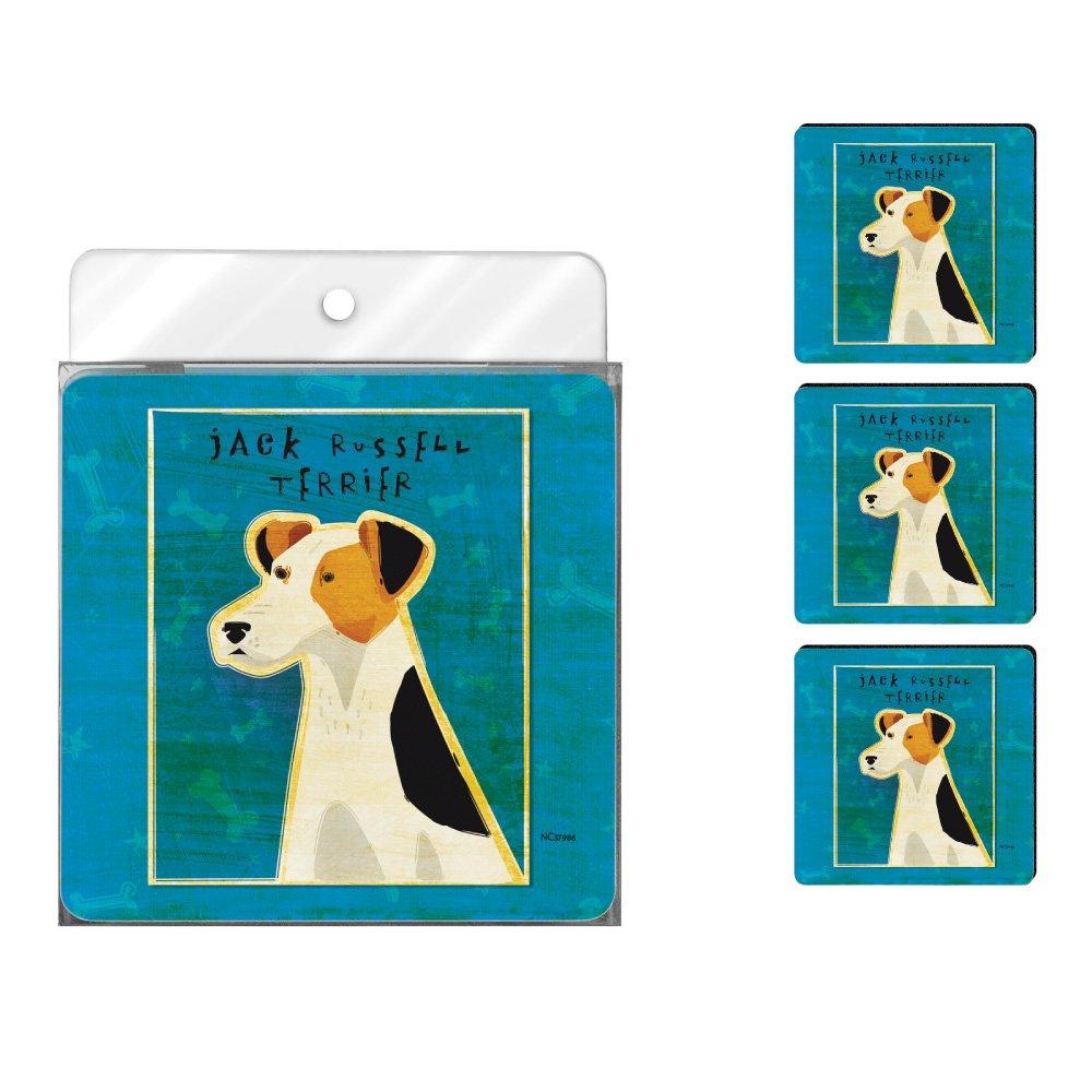 Golden 4-Pack Artful Coaster Set Tree-Free Greetings NC37986 John W Jack Russell Terrier
