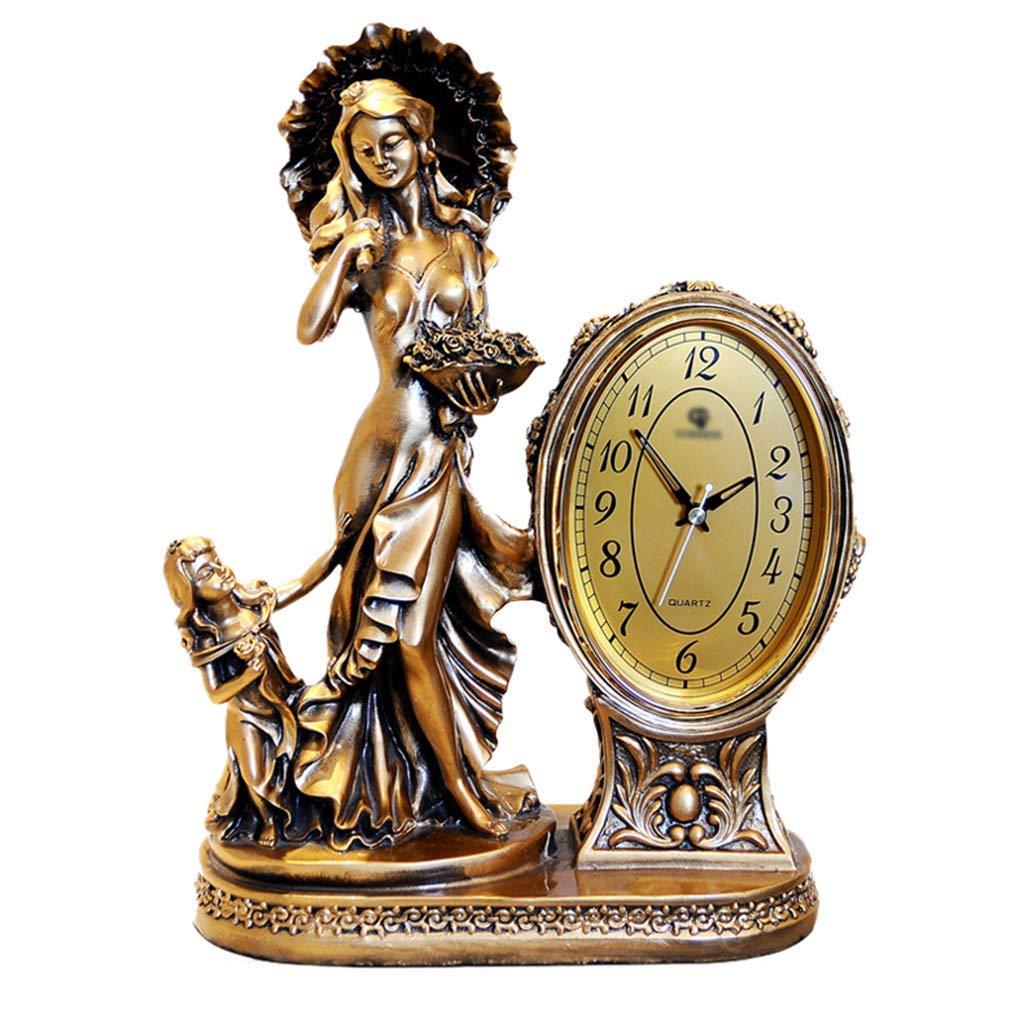デスククロックファミリークロックヨーロッパの古典的な女神の置時計創造的な刻々と過ぎないサイレント樹脂デスク装飾的なリビングルーム用時計リビングルームの寝室に最適 B07TD82SV3