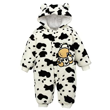 82e3b12a45774 Bébé Combinaison Pyjama Vache Barboteuse Animaux déguisement vêtement  Ensemble Hiver pour Enfant Unisexe