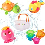iPlay, iLearn Baby Bath Toys, Fun Bath Time Tub Toys w/ Organizer, Kids Wind Up Water Toys, Stacking Cups, Gifts for 6…