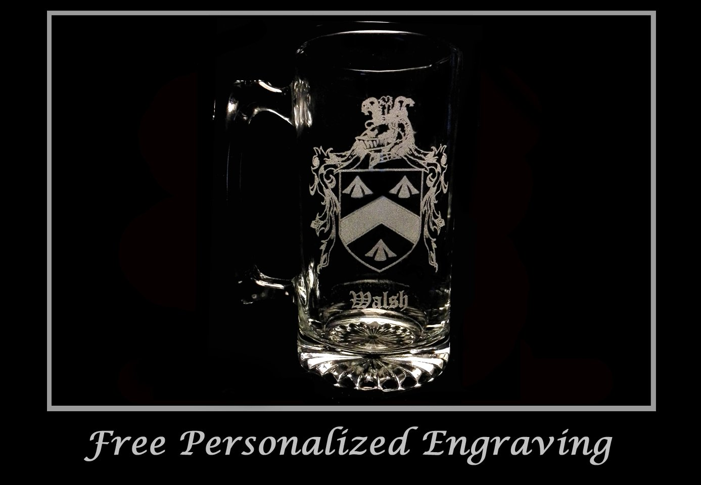 Walsh Irish Family Coat of Arms 27oz Beer Stein: Free Shipping & Personalized Engraving, Family Crest, Etched Clan Crest
