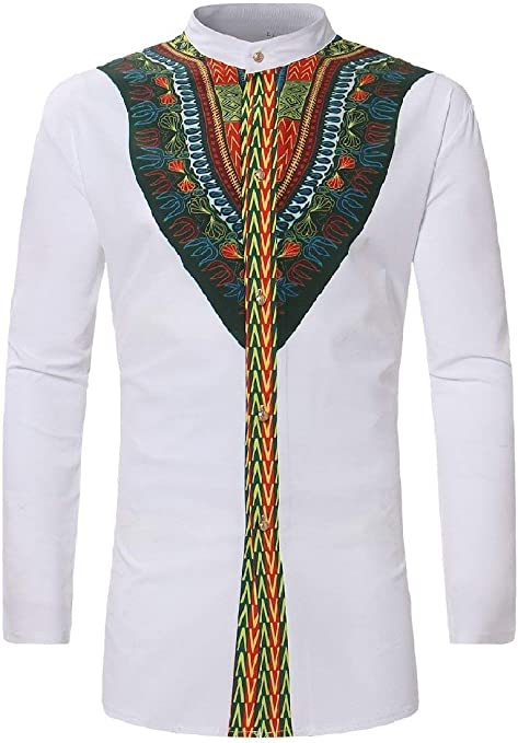 Abetteric Mens African Floral Print Dashiki Stand-up Collar Long-Sleeve Shirts