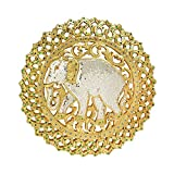 AeraVida The Grand Elephant Gilded Gold-Tone Hand Carved Rain Tree Wood Glass Wall Art