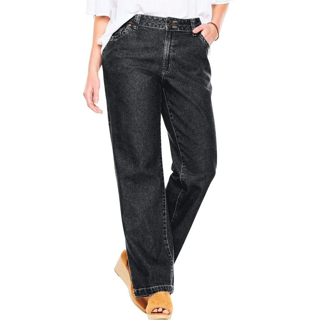 c47ac03ccaa Woman Within Plus Size Wide Leg Cotton Jean at Amazon Women s Jeans store