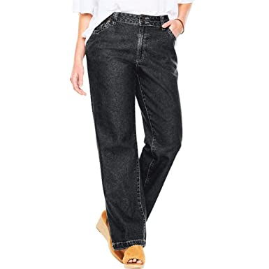 a5ba5c7e63820 Woman Within Plus Size Tall Wide Leg Cotton Jean at Amazon Women s Clothing  store