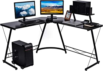 Nidouillet L Shaped Desk with Large Monitor Shelf and CPU Stand