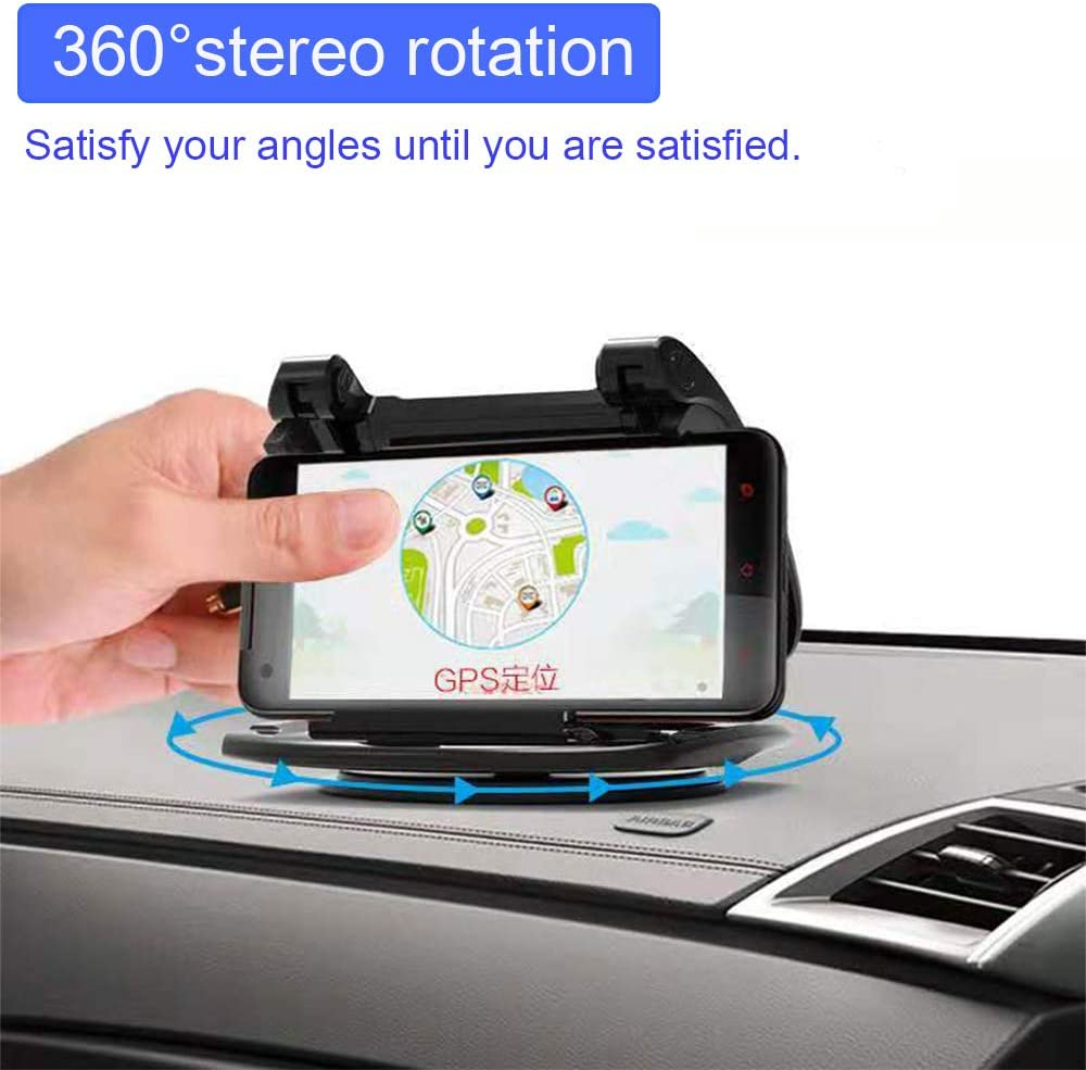 Vertical Horizontal Car Phone Mount with 360/° Rotate Base Dashboard Cradle for iPhone Samsung Galaxy Android Smartphones GPS Devices. Car Mount Phone Holder Black