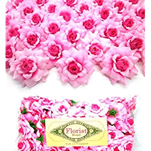 "Silk Sweety Pink Roses Flower Head - 1.75"" - Artificial Flowers Heads Fabric Floral Supplies Wholesale Lot for Wedding Flowers Accessories Make Bridal Hair Clips Headbands Dress 112"