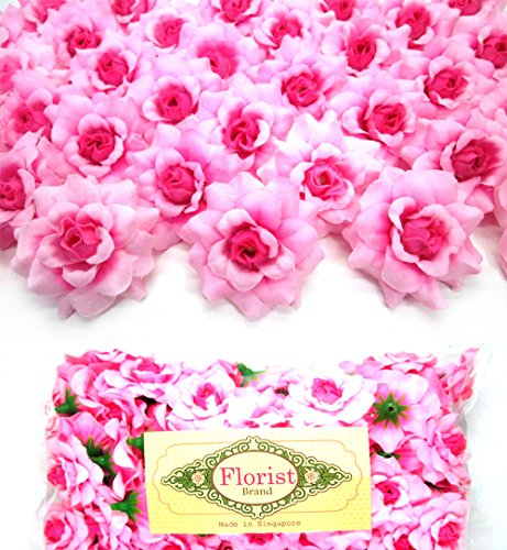 Florist Sweet Pink Roses Flower Head - 1.75 - Artificial Flowers Heads Fabric Floral for Wedding Accessories Make Bridal Hair Clips Headbands Dress (100)