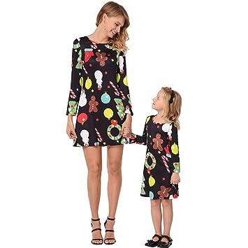 Family Matching Clothes Cartoon Print Long Sleeve Casual Dress Pajamas Family Sleepwear Christmas Pajamas