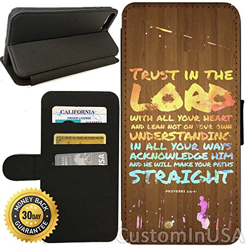 Flip Wallet Case For Iphone 7  Bible Verse Trust  With Adjustable Stand And 3 Card Holders   Shock Protection   Lightweight   By Innosub