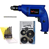 Inditrust 450W 10mm Drill Machine with 6 Pieces Hole Saw Set, Induction Hardened Teeth, 13 Pieces HSS Drill Set and 1 Masonry Bit (Colour May Vary)