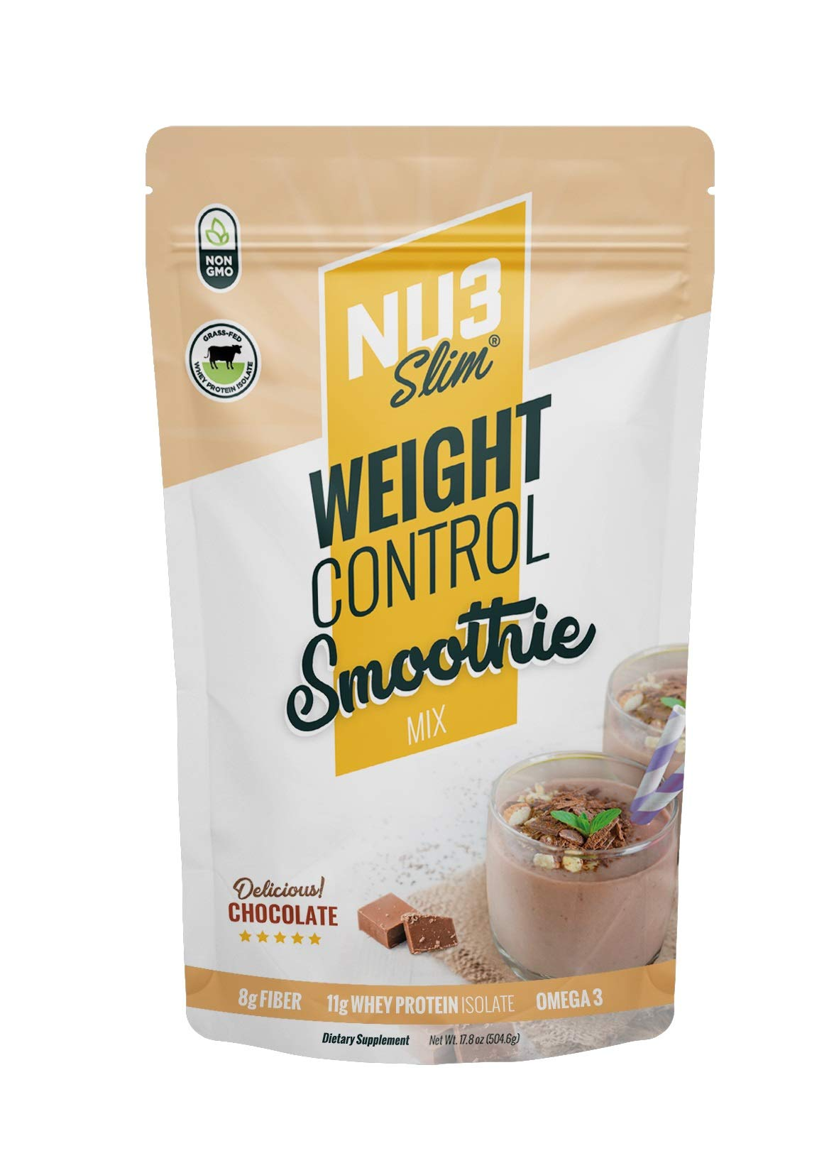 NU3 Slim - The Weight Control Smoohie - Whey Protein Isolate GRASS FED,  Fiber Mix