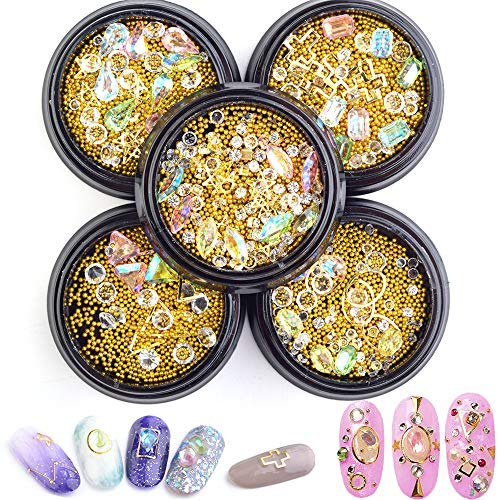 Nail Micro Caviar Beads-Nail Studs for Women Gold Nail Studs Gems Sparkle Rhinestones 5 Wheels Nail Charms Metal Jewels Crystal Metal Rivets Charms 3D Nails Supply Studs Gold Nail Art Decorations (Gold Nail Charms)