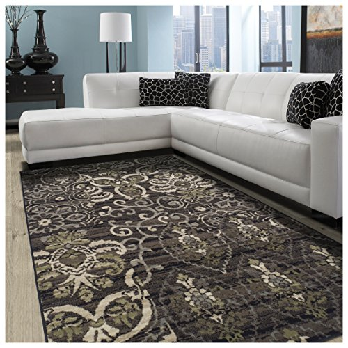 Superior Caldwell Collection Area Rug, 8mm Pile Height with Jute Backing,  Gorgeous Patchworked Damask Design, Fashionable and Affordable Woven Rugs, 5 x 8 Rug, Black