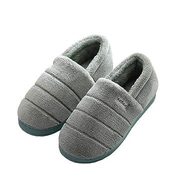SFHK Otoño Invierno Algodón Zapatillas Todo Incluido Dedo del Pie Cerrado Mujer Hombres Casa Pareja Mantener