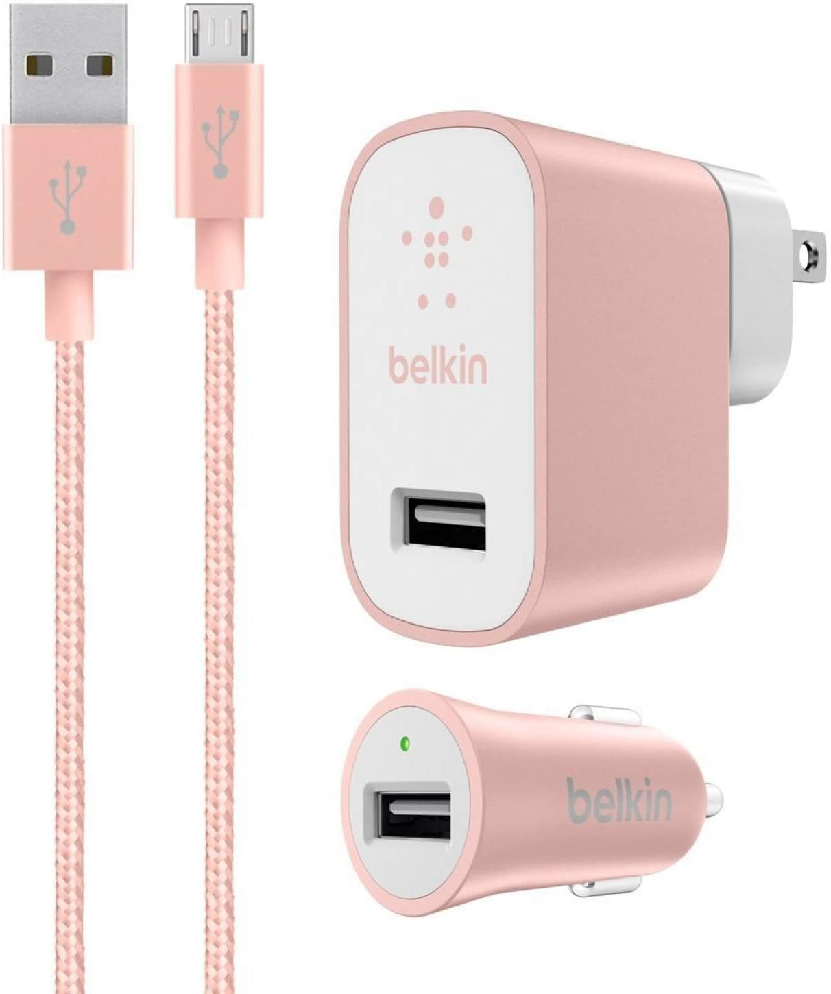 Belkin Mixit Metallic 2.4A Premium Wall and Car Charger Bundle with 4-Foot Micro USB Cable Charging Kit - for Android Phones - Rose Gold