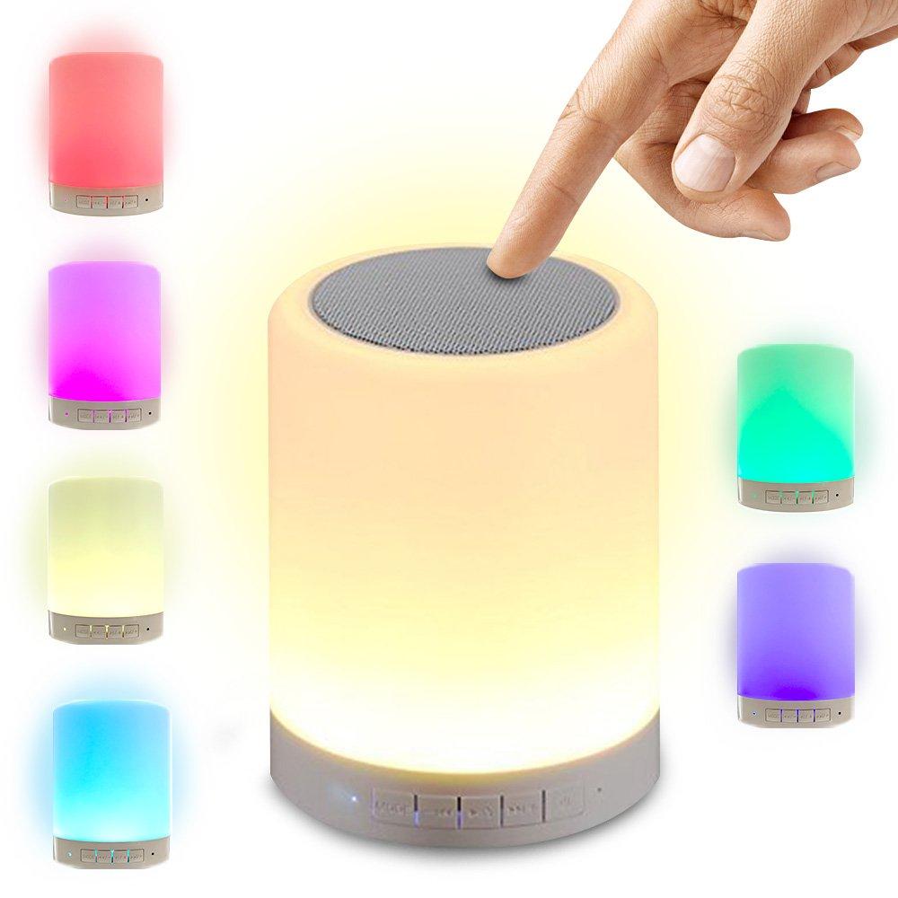ポータブルワイヤレスタッチ制御LEDの色変更ナイトライトBluetoothスピーカー、スピーカー、ベッドサイドテーブルランプ、保育園、子供ルーム、またはオフィスに最適(ホワイト) B078LLNB4H 14155