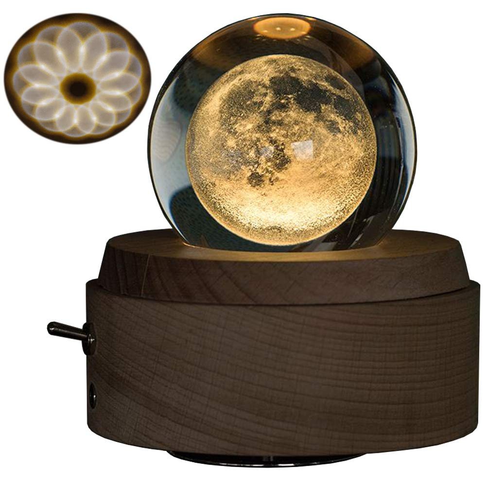 Keeword Music Box Night Light Luminous Rotating Crystal Ball Musical Box with Projection Light and Wood Base, Great Gift for Mother's Day Christmas Birthday Valentine's Day (Crystal Moon)