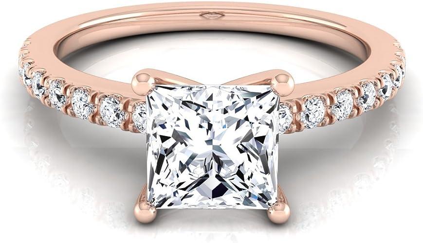 14k Rose Gold Prong Set 3 4 Ct T W Princess Cut Diamond Engagement Ring Amazon Com