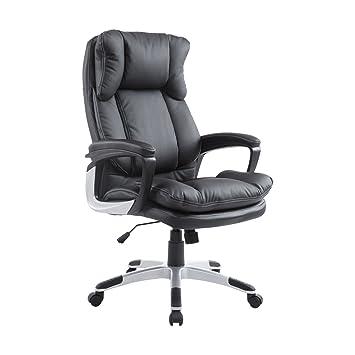 Fabulous Homcom 921 051Bk Ergonomic Bonded Leather Deluxe Executive Computer Chair Home Office Furniture Black Interior Design Ideas Clesiryabchikinfo