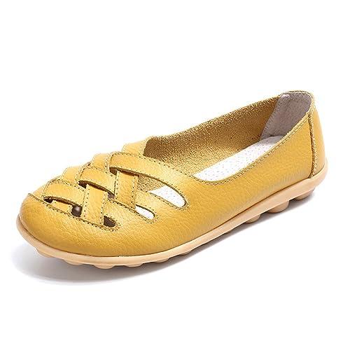 Mocasines para Mujer Loafers Cuero Casual Zapatillas Verano Zapatos del Barco Ligero Cómodo Zapatos de Conducción 34-44: Amazon.es: Zapatos y complementos