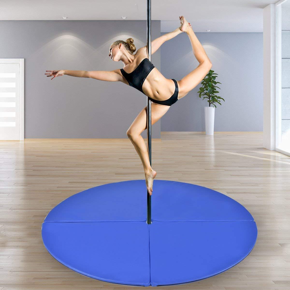 "Tangkula Pole Dance Mat Foldable Yoga Exercise Safety Dancing Cushion Steel Pipe Crash Mat, Dia 5ft x 2"""