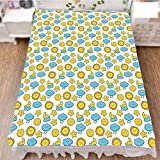 iPrint Bed Skirt Dust Ruffle Bed Wrap 3D Print,Kids Boys Girls Moon Rainy Clouds Stars Sun,Fashion Personality Customization adds Color to Your Bedroom. by 47.2''x78.7''