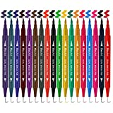 18 Pack Dual Brush Calligraphy Marker Pens for Beginners, Brush Tips & Colored Fine Point Bullet Journal Pen Set for Lettering Writing Coloring Drawing (School Office Art Supplies)