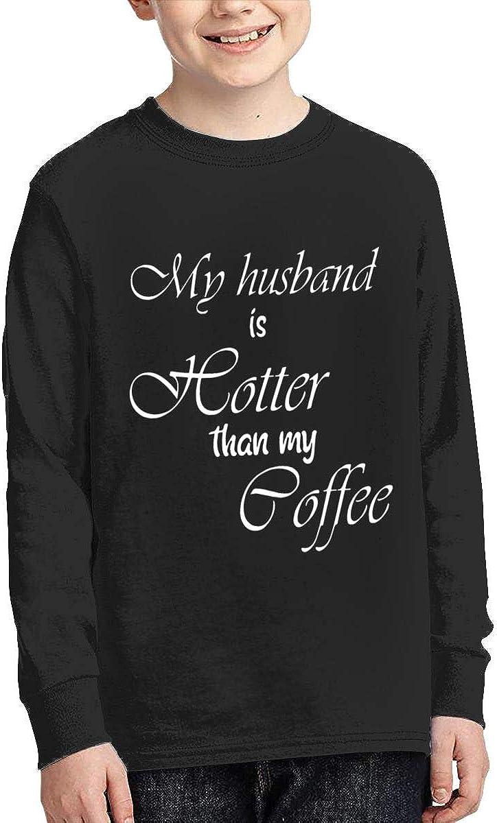 Qiop Nee My Husband is Hotter Than My Coffee Long Sleeve Tees for Girls