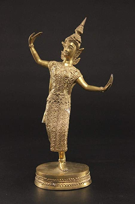 Figura de bronce de templo de Tailandia (28 cm) bailarina Teppanom ...