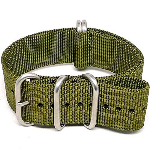 DaLuca Ballistic Nylon NATO Watch Strap - Olive (Matte Buckle) : 20mm
