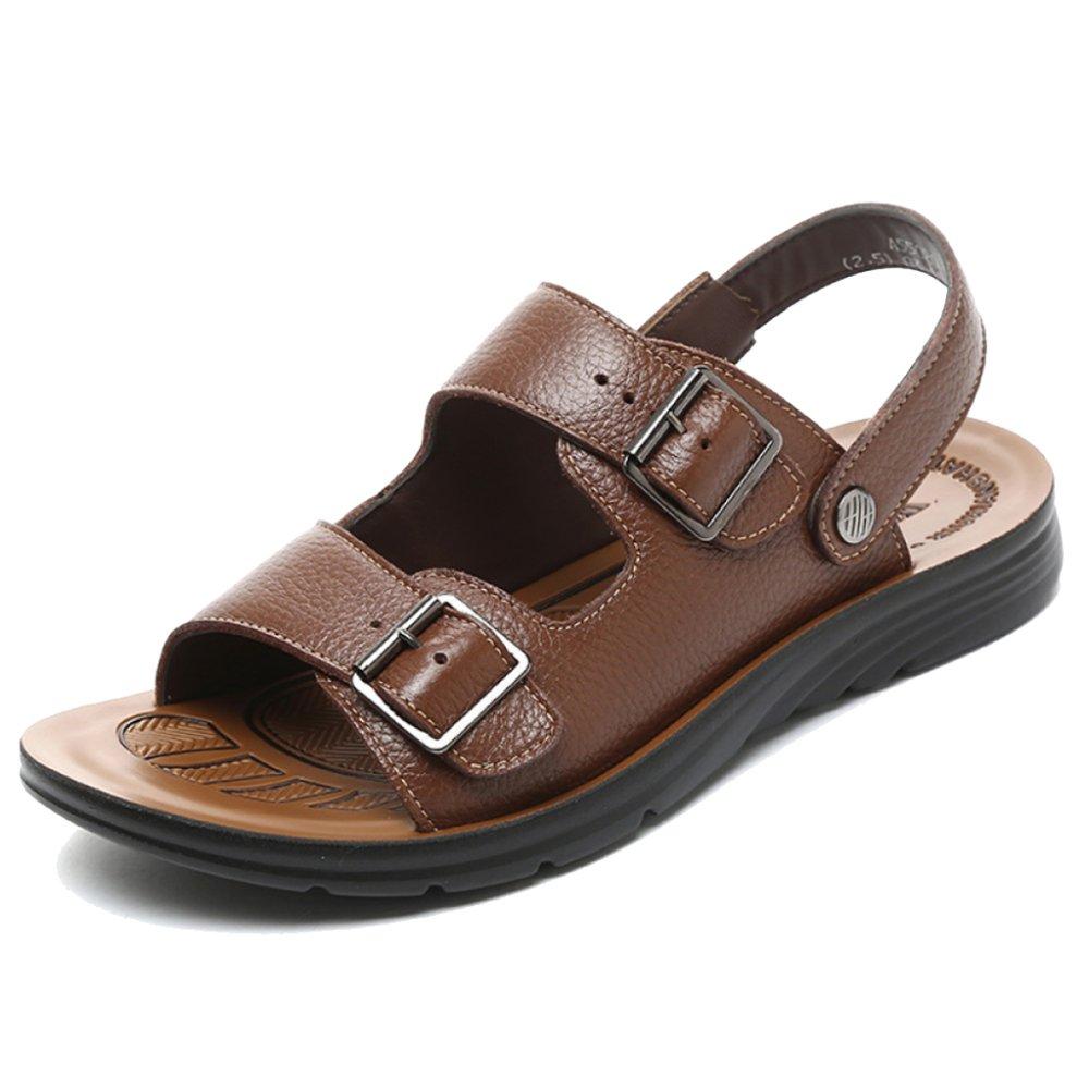 MERRYHE Zapatillas con Punta Abierta De Cuero Real para Hombres Zapatillas Sandalias con Cordones Que Caminan Caminando Zapatos De Playa,Brown-45 45|Brown