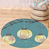 VROSELV Custom carpetLantern Decor Three Paper Lanterns Hanging on the Branches Lighting Fixture Source Lamp Print Bedroom Living Room Dorm Decor Teal Yellow Round 79 inches